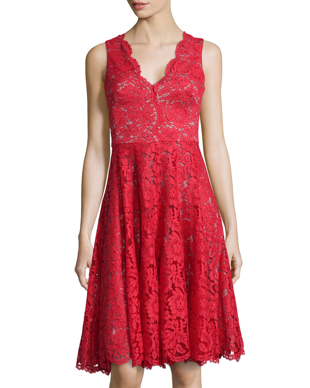 Vera Wang Sleeveless Lace Cocktail Dress In Red Lyst