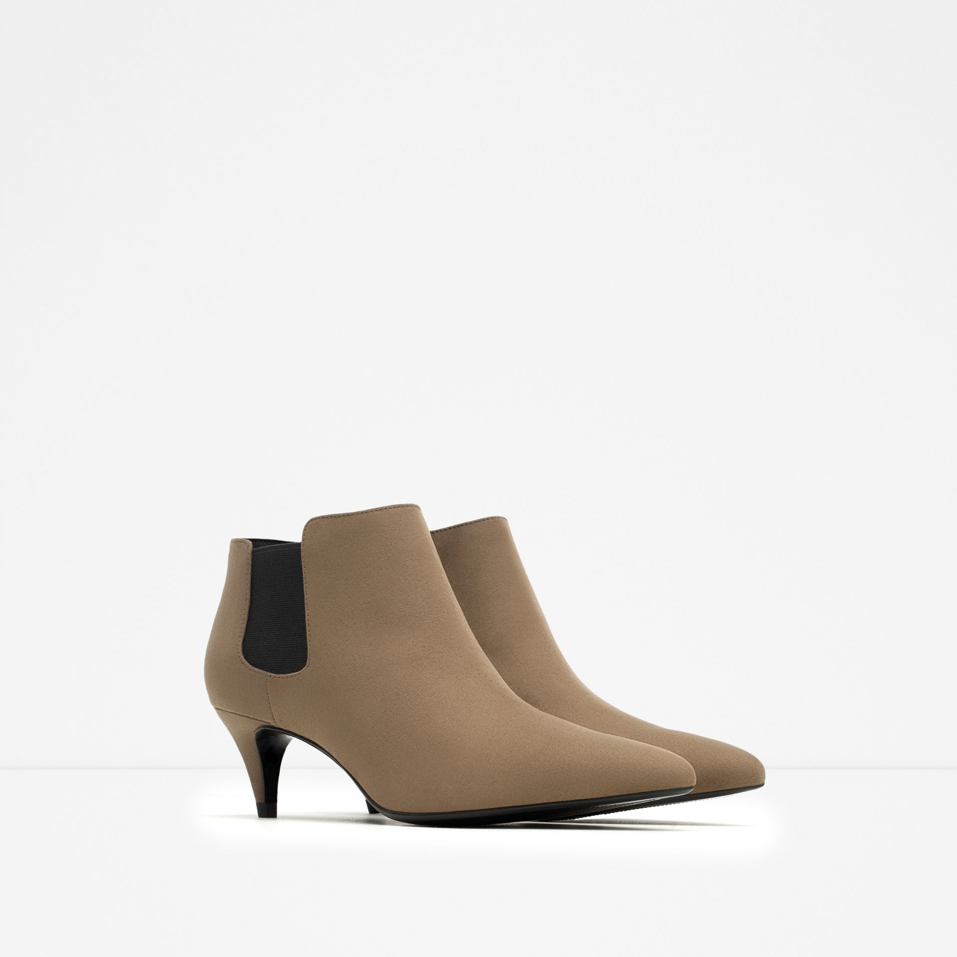 zara mid heel ankle boot in brown lyst