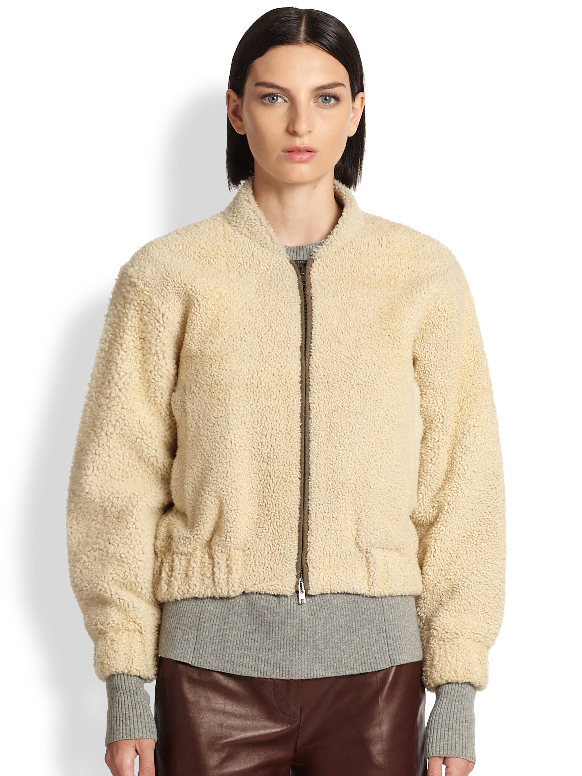 good crazy price 100% authentic Reed Krakoff Natural Shearling Bomber Jacket
