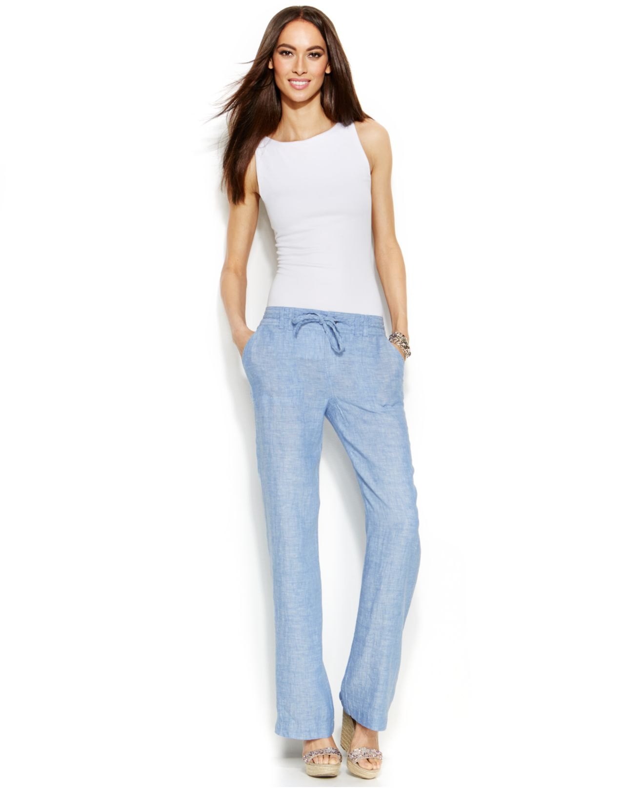 Inc international concepts Linen Curvy-Fit Wide-Leg Pants in Blue ...