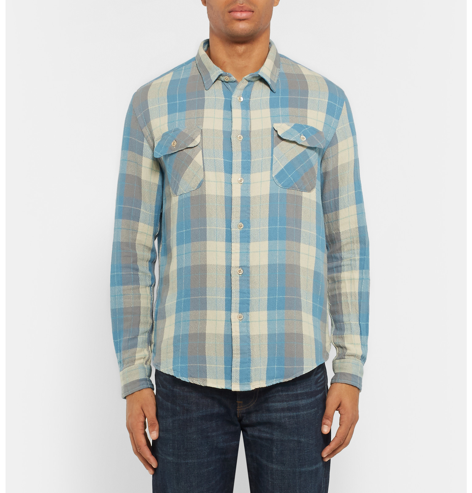 Levi 39 s 1950s slim fit plaid cotton shirt in blue for men for Levis vintage denim shirt 1950 sawtooth slim fit