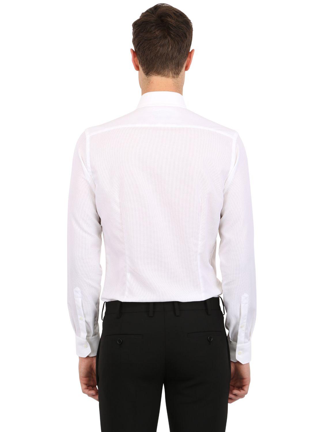 Lyst corneliani slim fit cotton shirt in white for men for Slim fit cotton shirts