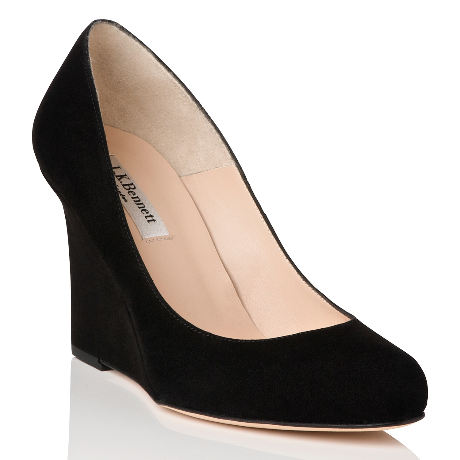 l k eirene wedge court shoes in black lyst