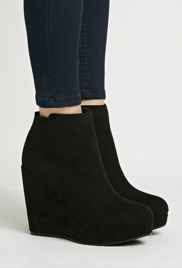 forever 21 faux suede wedge booties in black lyst