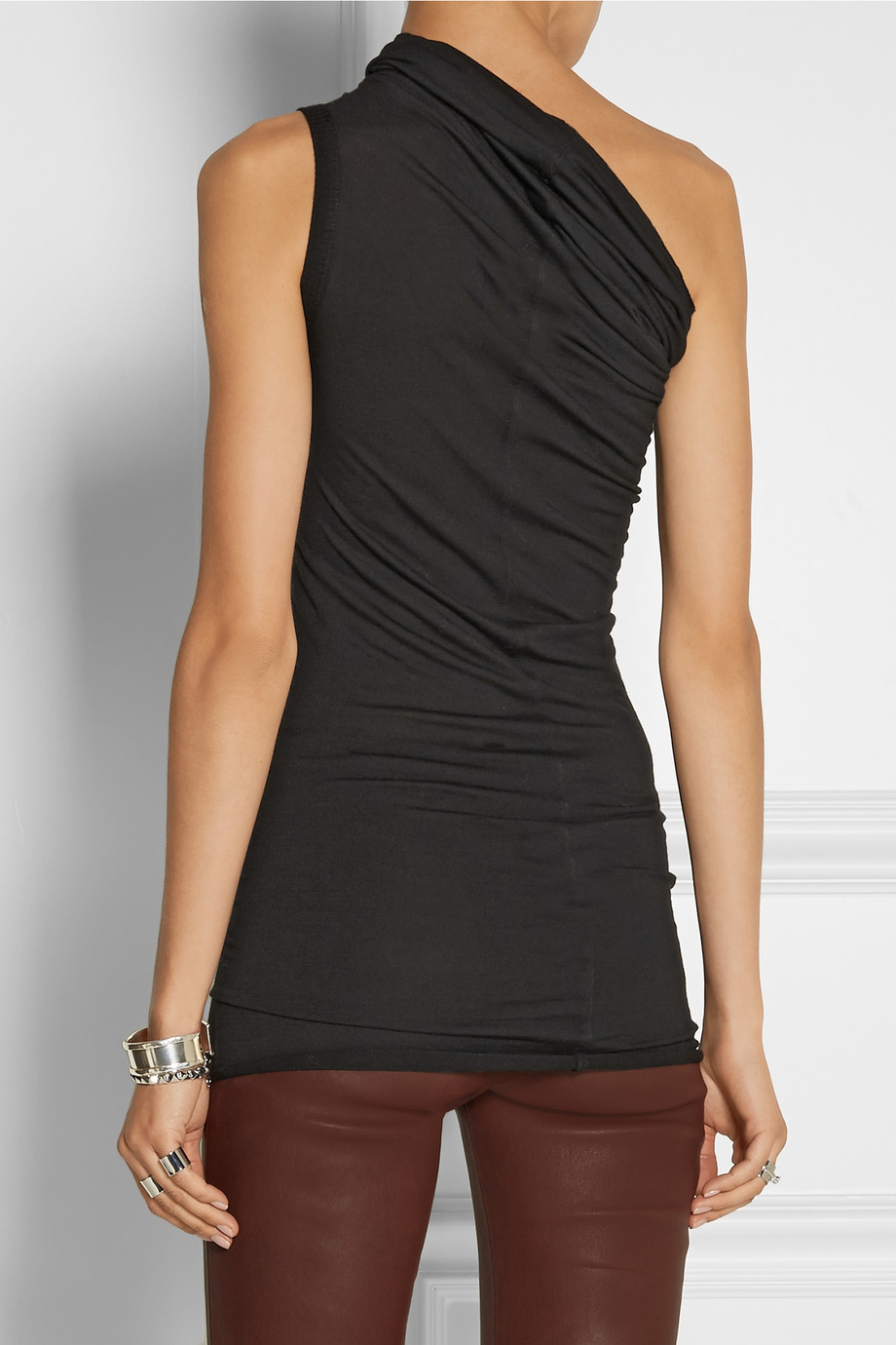 Rick Owens One Shoulder Jersey Top In Black Lyst