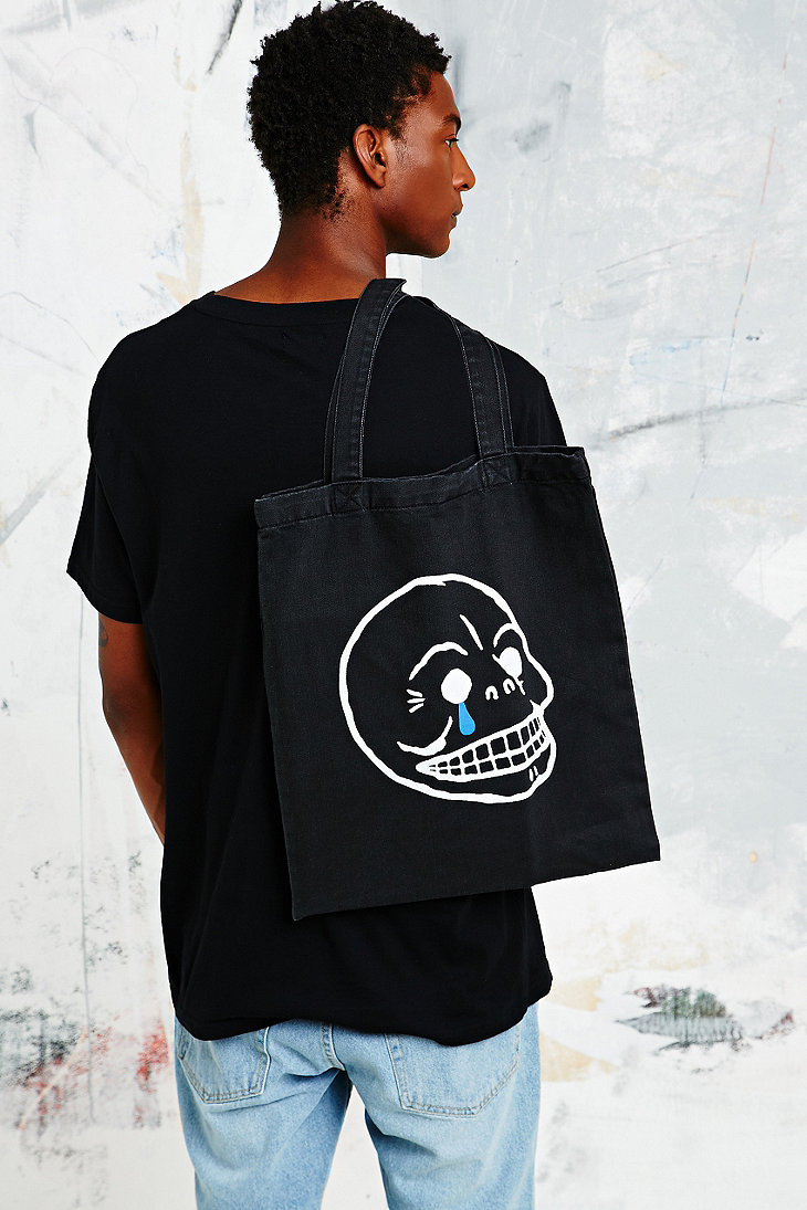 Cheap Monday Cotton Crying Skull Tote Bag in Black for Men