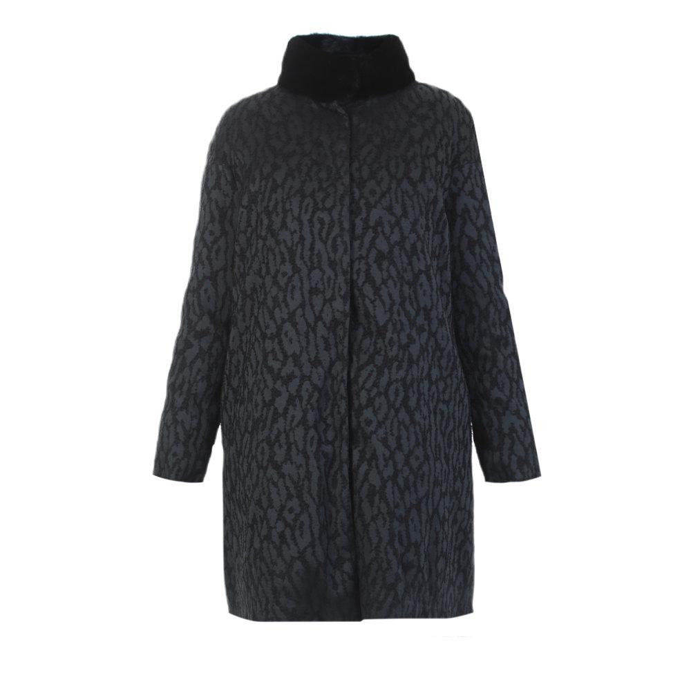 Moncler gamme rouge Fur Black Jacquard Coat in Black