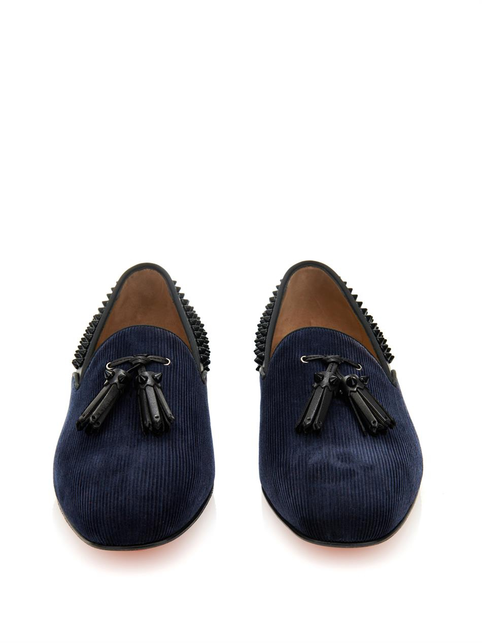 706f9789fa95 christian louboutin leopard loafers - Christian louboutin Tassilo Studded  Loafers in Blue for Men