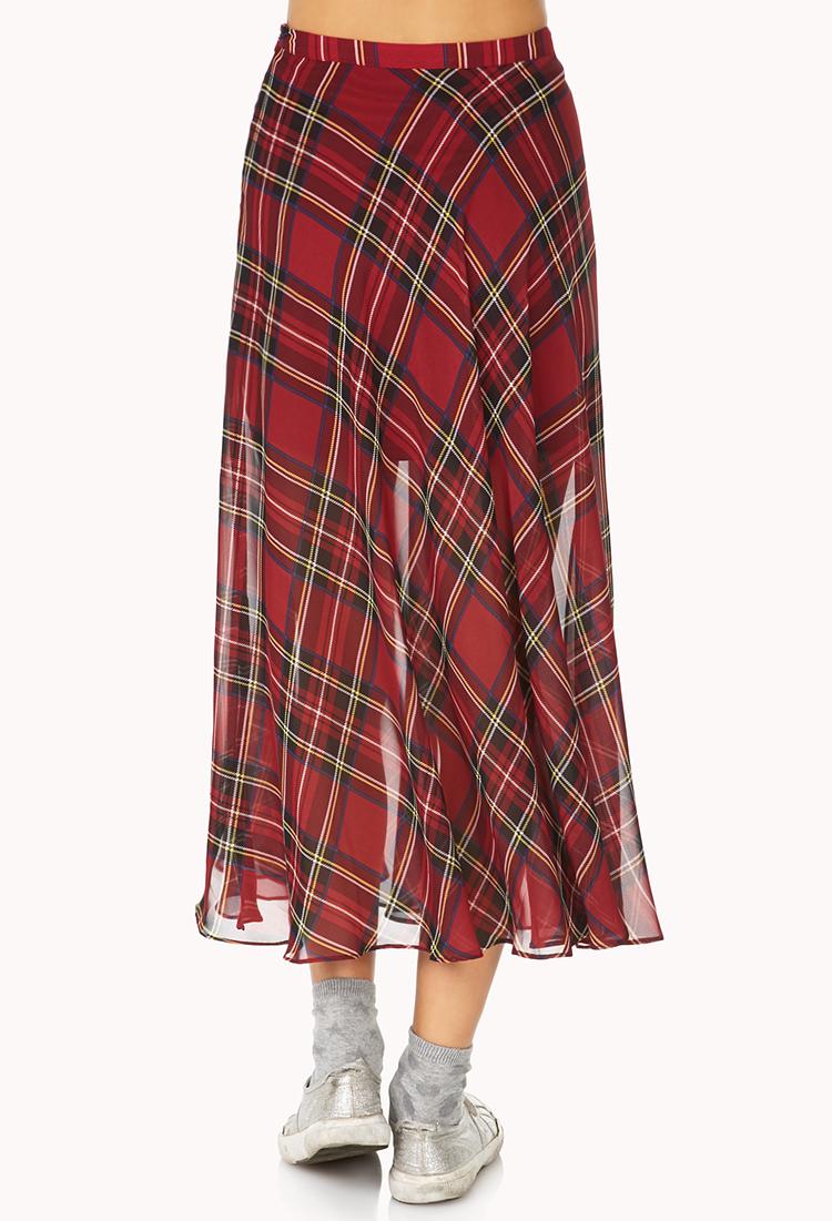 forever 21 tartan plaid slit maxi skirt in black lyst