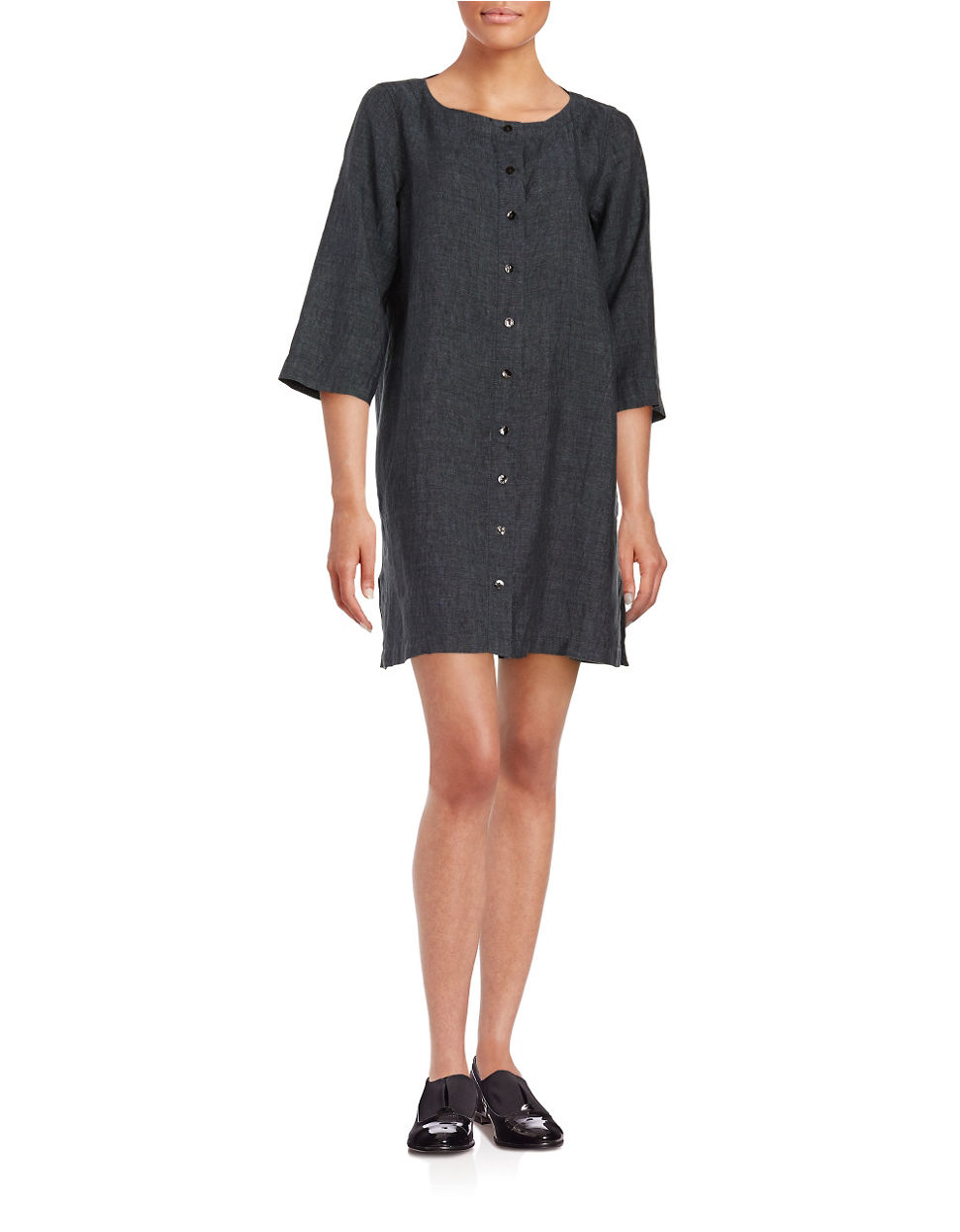 eileen fisher chambray shirt dress in blue lyst