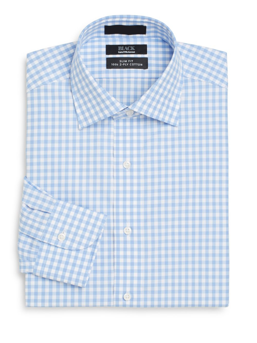 Saks fifth avenue black label slim fit gingham check two for 2 ply cotton dress shirt