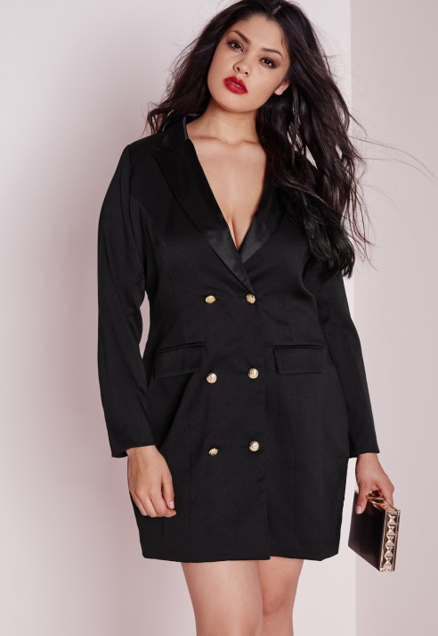 Lyst Missguided Plus Size Tuxedo Satin Collar Dress Black In Black