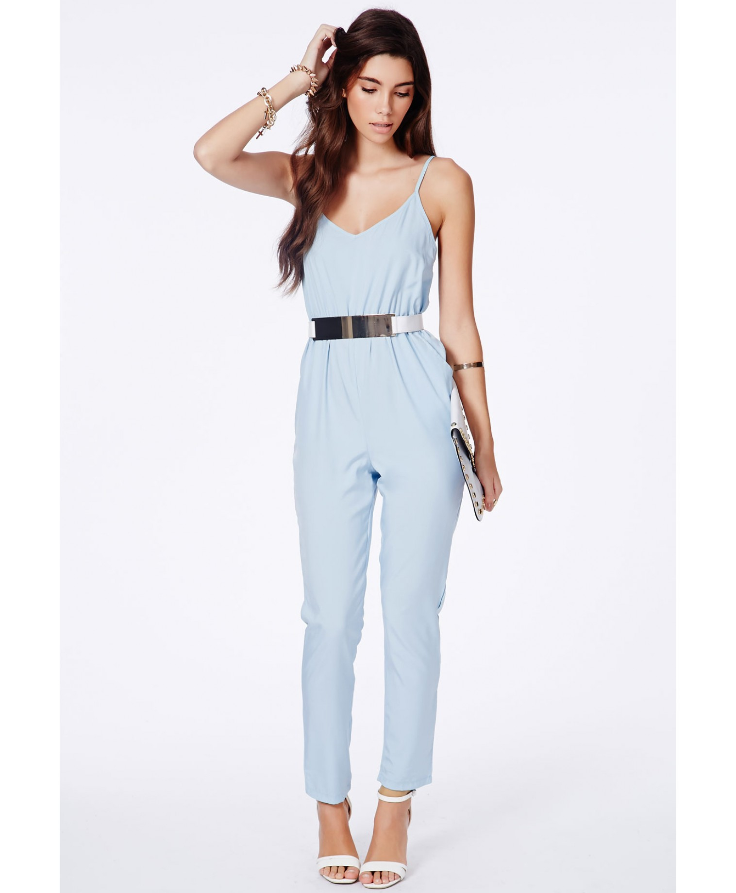 Missguided Kelsey Blue Tailored Strappy Jumpsuit in Blue | Lyst