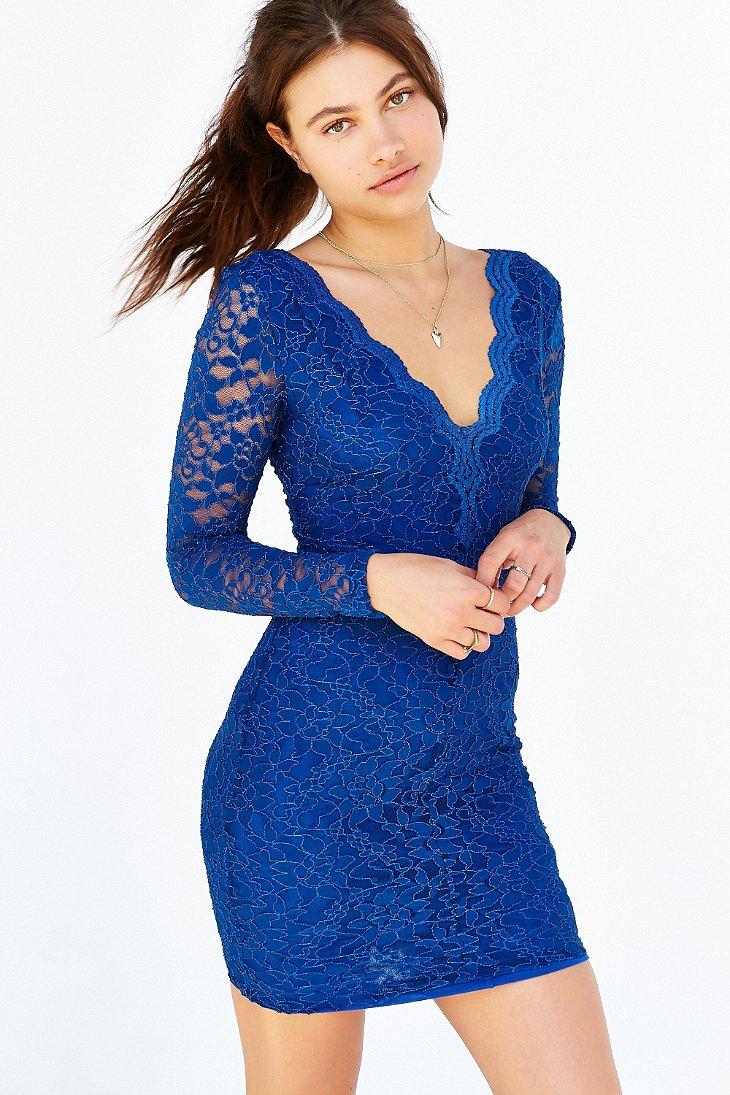 Black and blue long sleeve bodycon dress