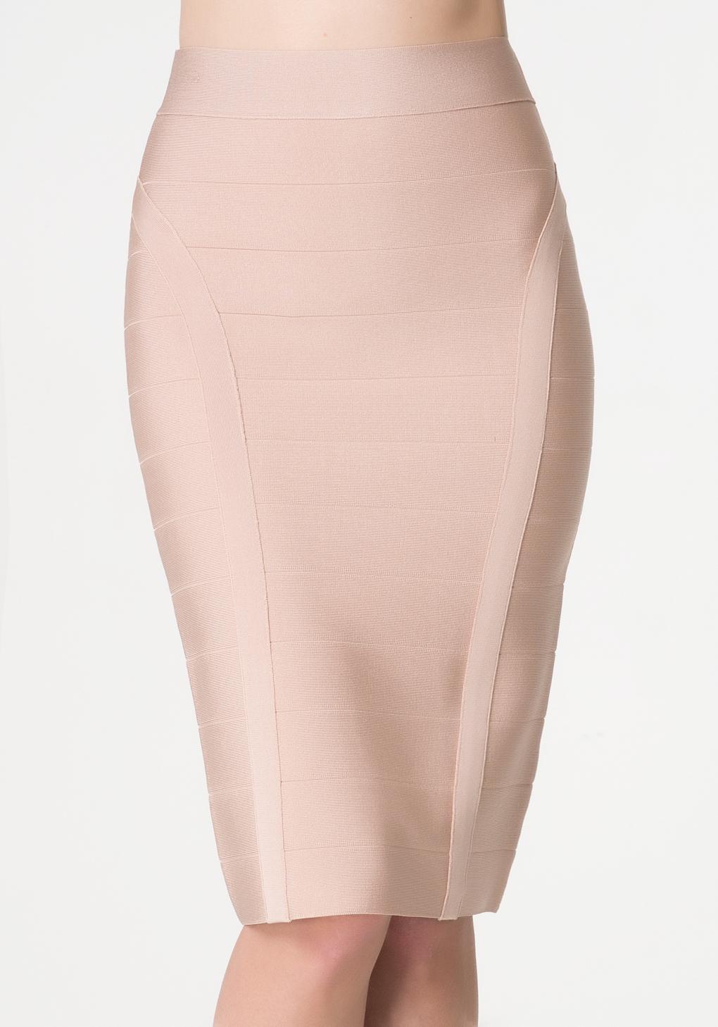 bebe solid bandage midi skirt in pink lyst