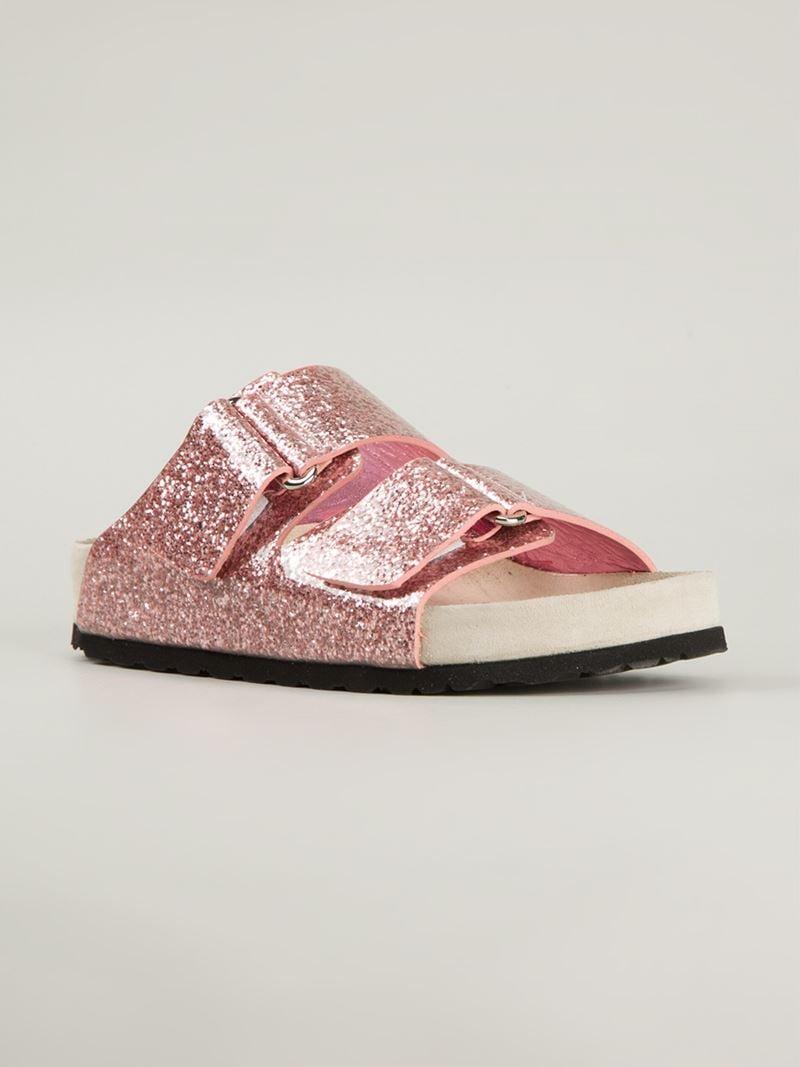 Lyst Giamba Glitter Slide Sandals In Pink