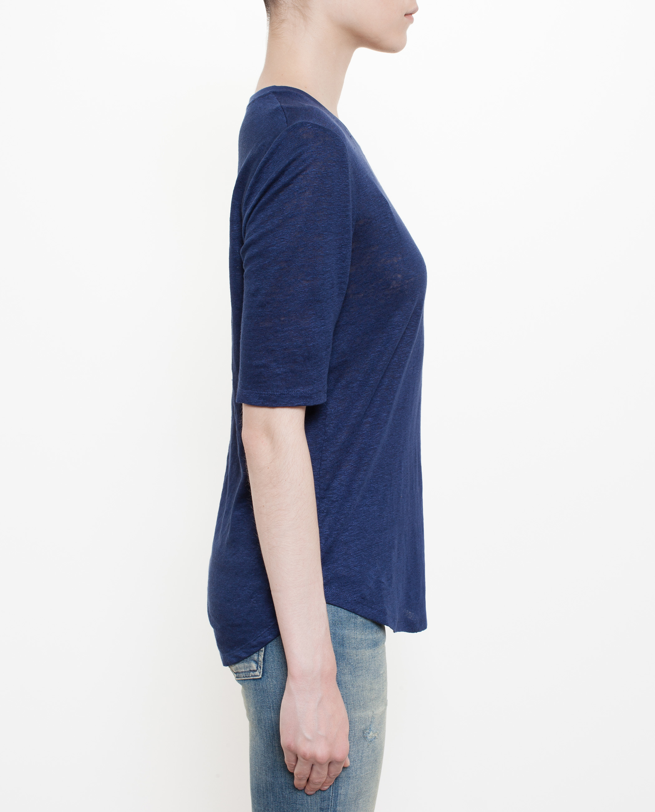 Vince elbow sleeve t shirt in blue lyst for Vince tee shirts sale