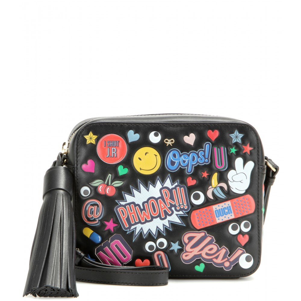 anya hindmarch 39 all over stickers 39 crossbody bag in black lyst. Black Bedroom Furniture Sets. Home Design Ideas