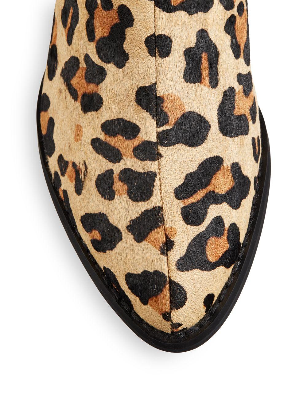 b3c83f948 Steve Madden Palace Leopard-Print Calf Hair Ankle Boots - Lyst