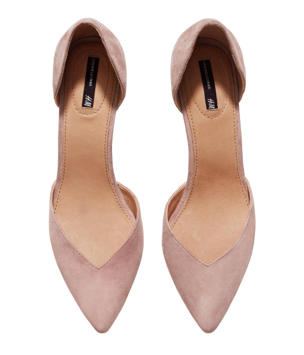 H\u0026M Suede Court Shoes in Powder Beige