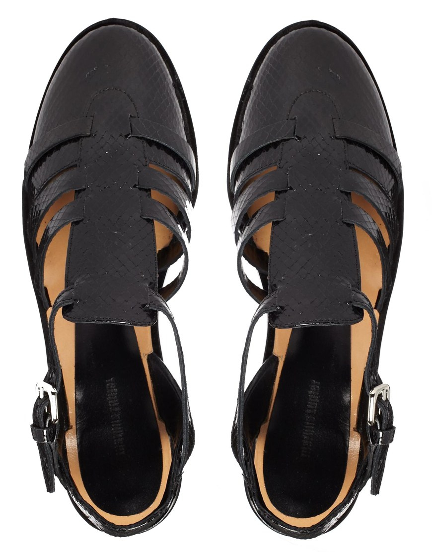 ad8065c11d176 Lyst - Markus Lupfer Printed Leather Cut Out Flat Shoes in Black