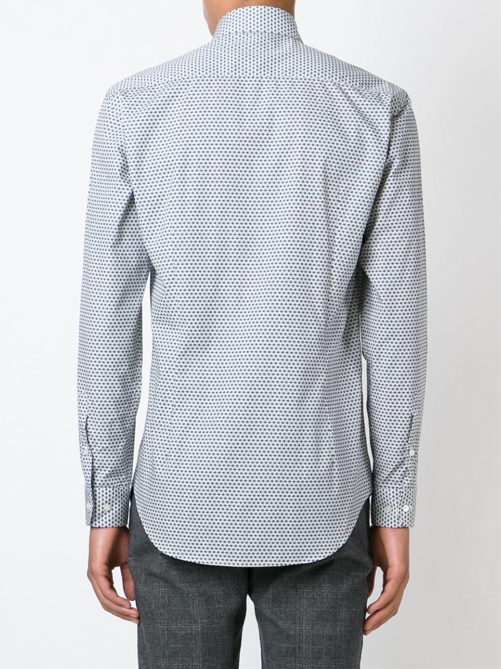 Etro geometric print shirt in white for men lyst for Etro men s shirts