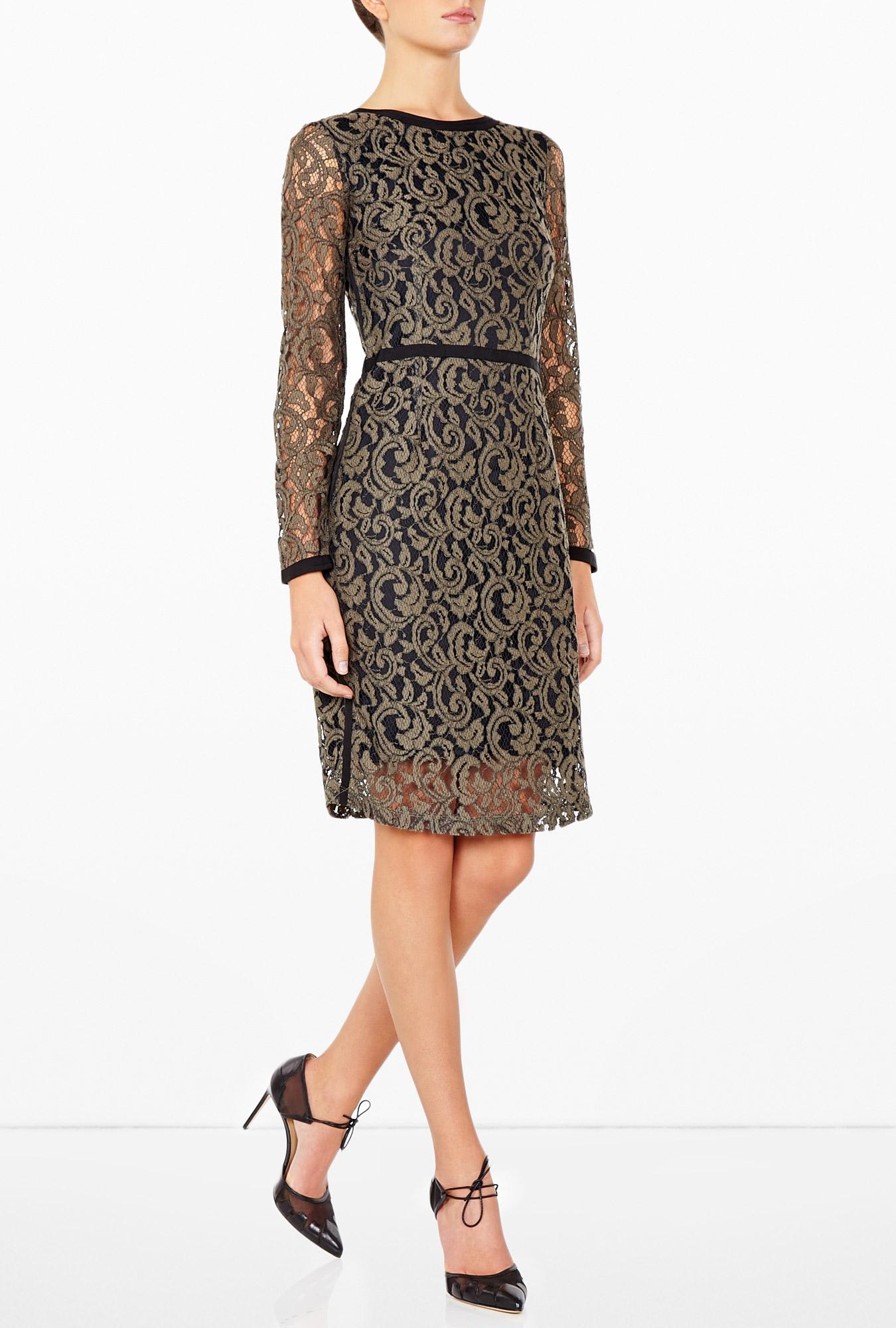day birger et mikkelsen weave lace dress in black khaki lyst. Black Bedroom Furniture Sets. Home Design Ideas