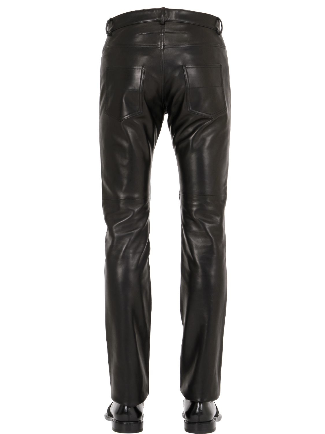Givenchy 18cm Slim Fit Nappa Leather Jeans in Black for Men