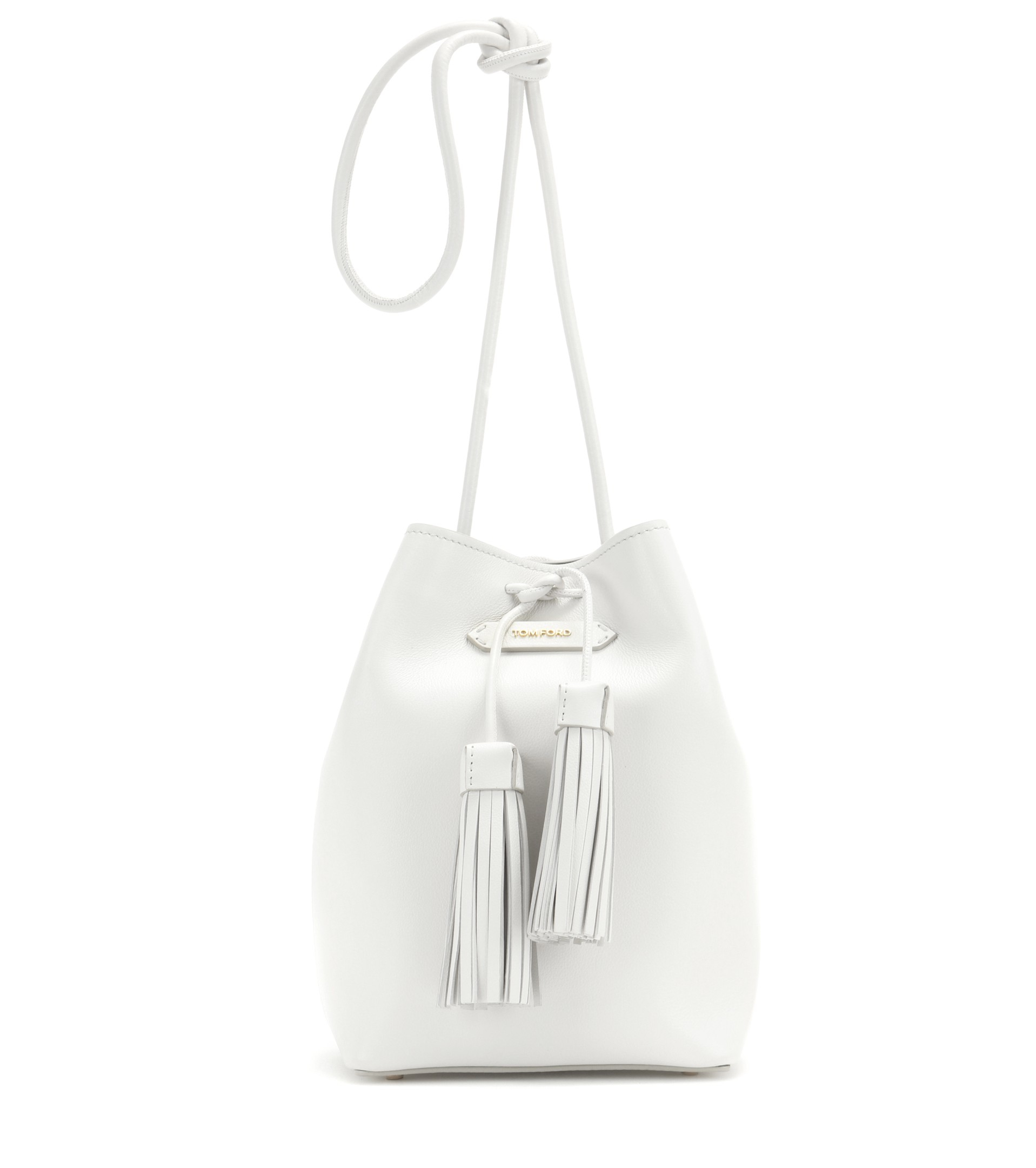 76663cf2fd67 Lyst - Tom Ford Bucket Small Leather Bucket Bag in White