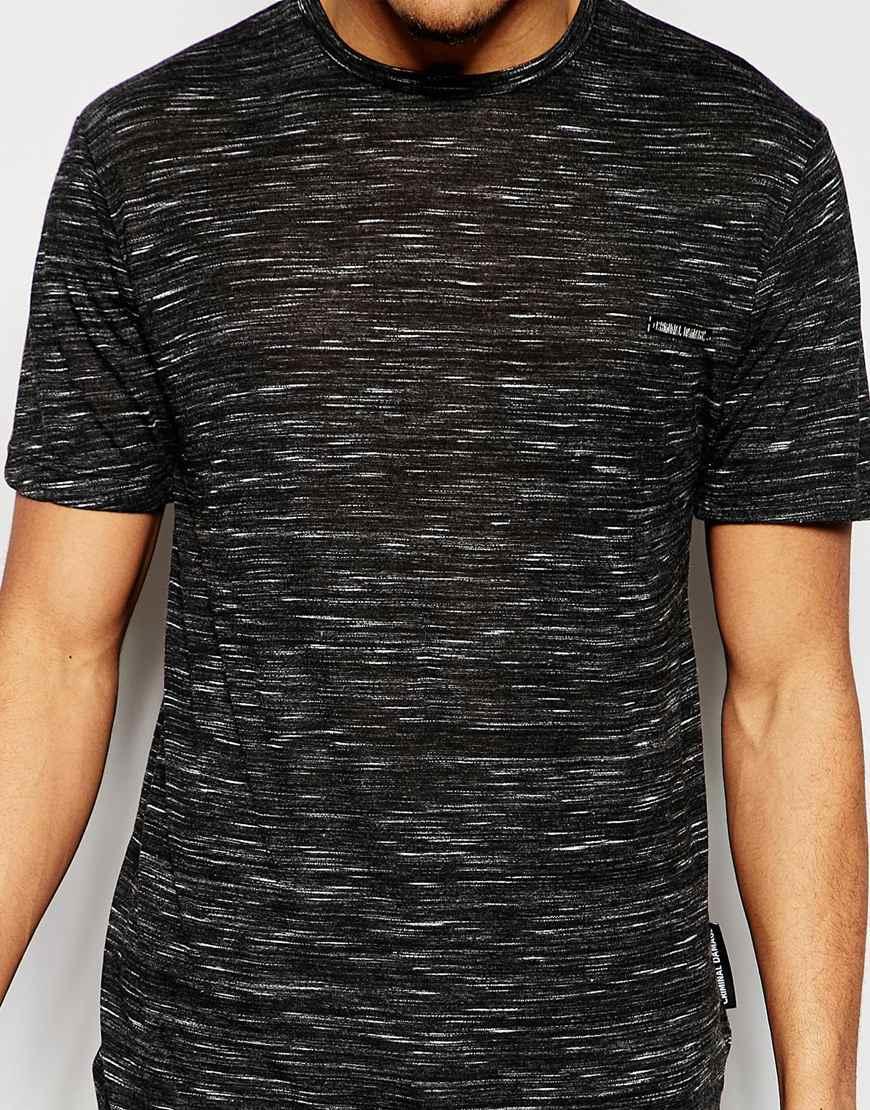criminal damage longline t shirt in nep with curved hem in black for men lyst. Black Bedroom Furniture Sets. Home Design Ideas