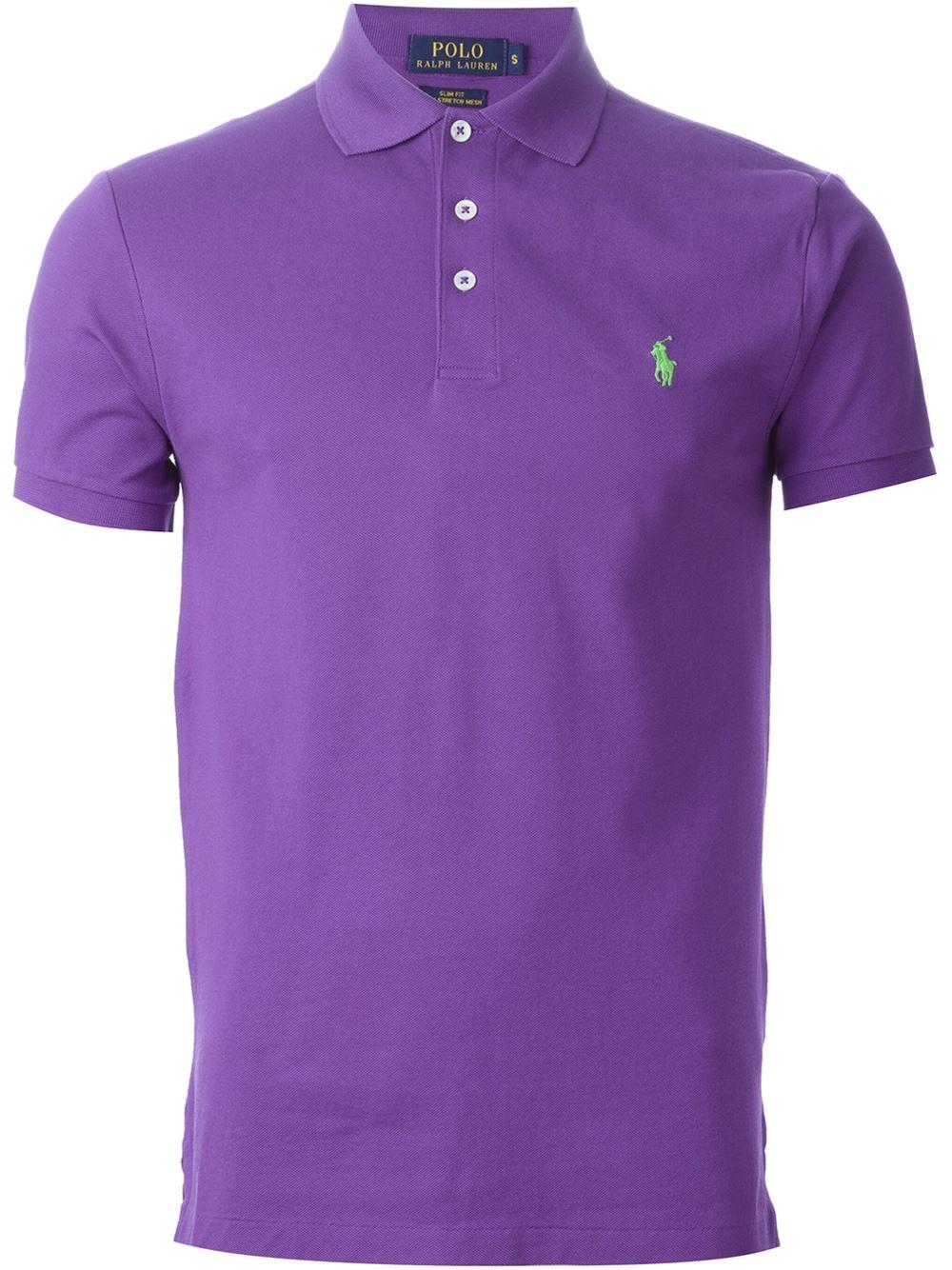Polo ralph lauren embroidered logo polo shirt in purple for Ralph lauren logo shirt