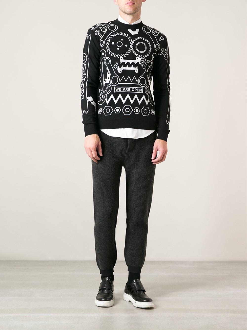 kenzo mechanical motif sweater in black for men lyst. Black Bedroom Furniture Sets. Home Design Ideas