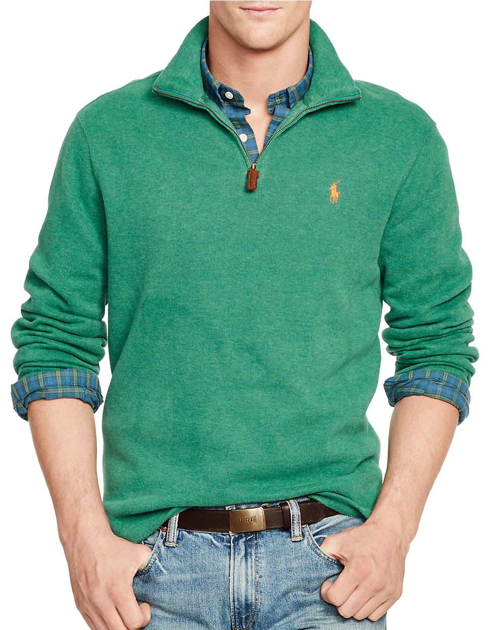 polo ralph lauren french rib half zip pullover in green for men green. Black Bedroom Furniture Sets. Home Design Ideas