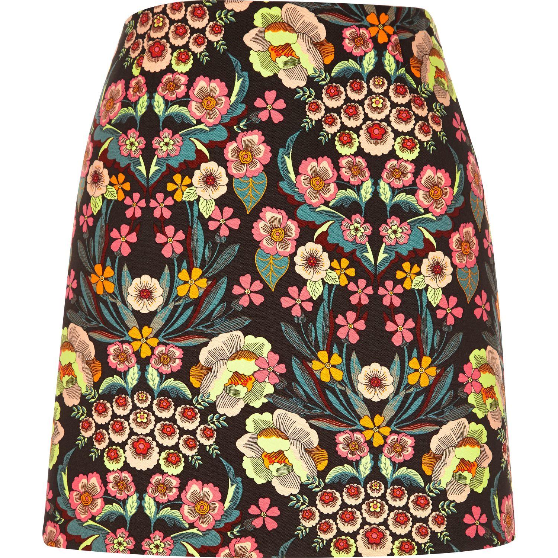 636b4384fc River Island Pink Retro Floral Print Mini Skirt in Pink - Lyst