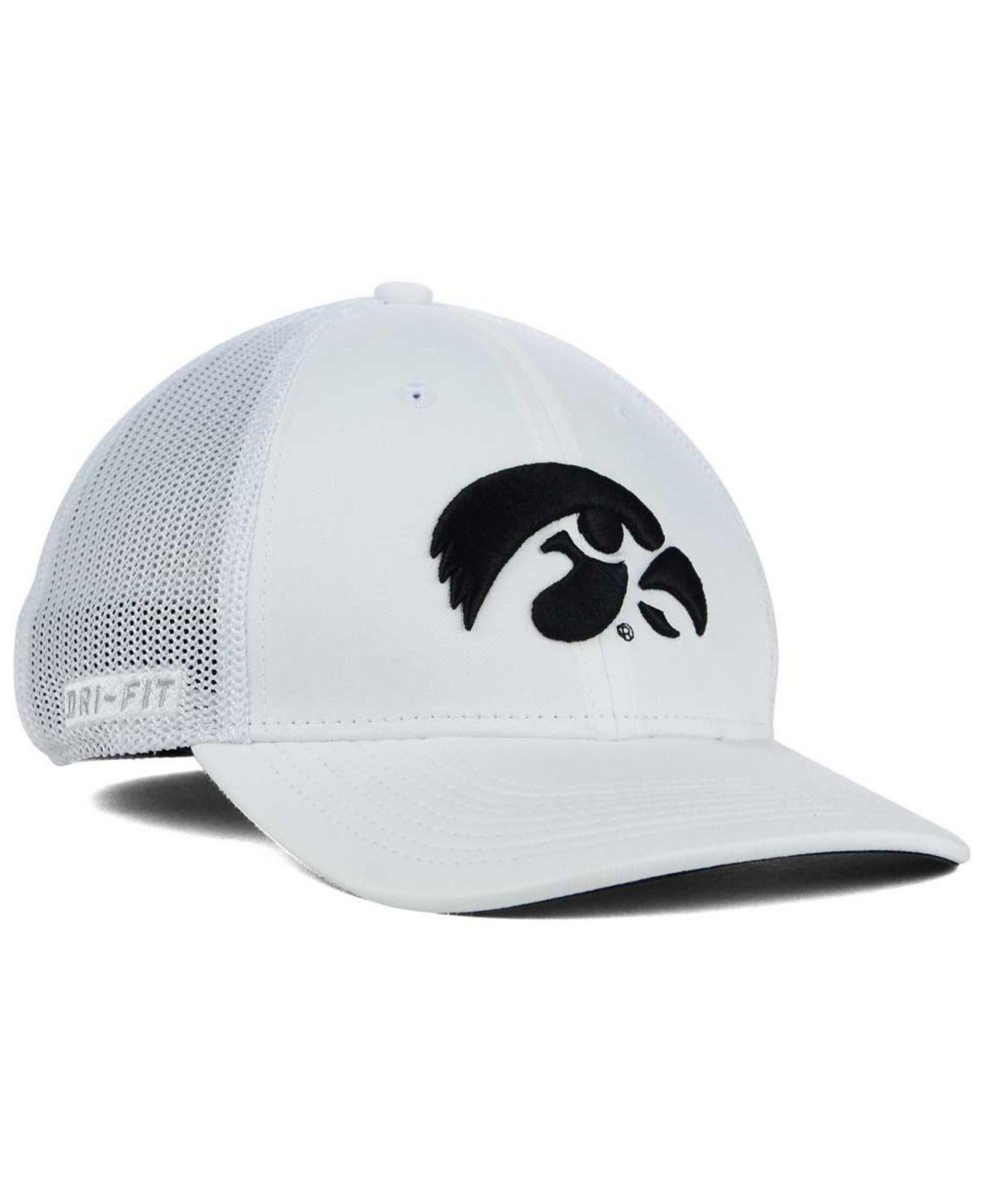 new product 15159 c283d ... back swoosh flex hat 2551b d7610  promo code for lyst nike iowa hawkeyes  l91 mesh swoosh flex cap in white for men