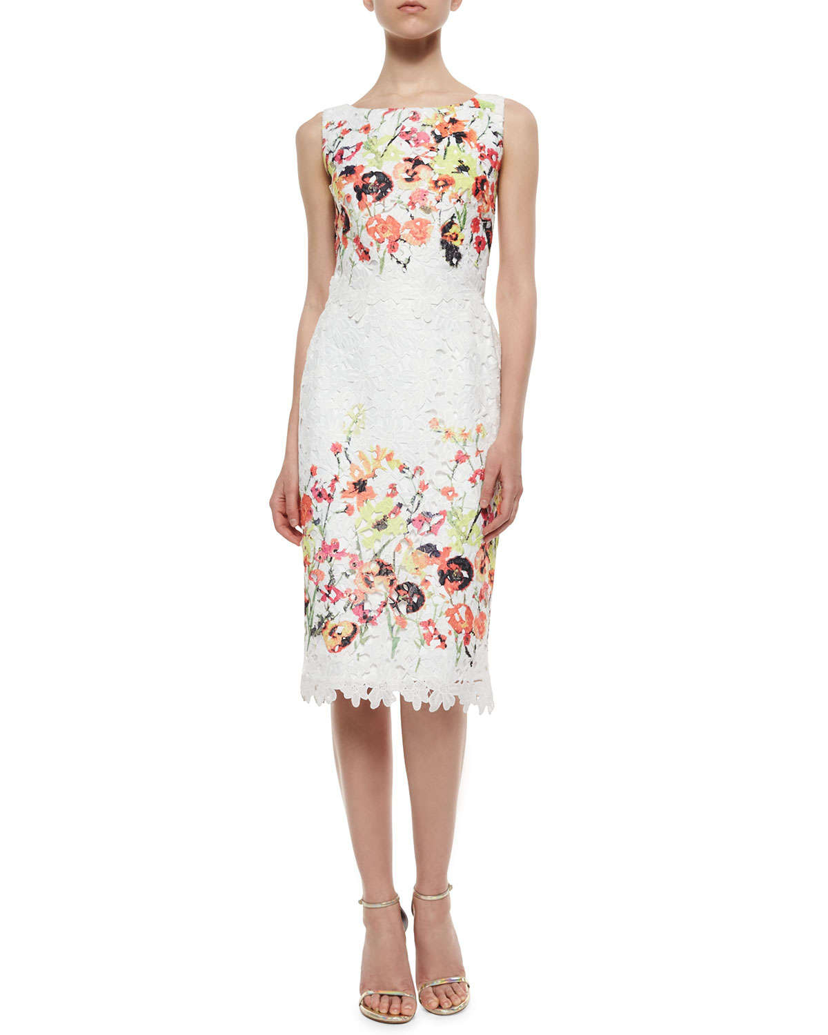 Lyst - Badgley Mischka Sleeveless Floral-Embroidered Lace Dress