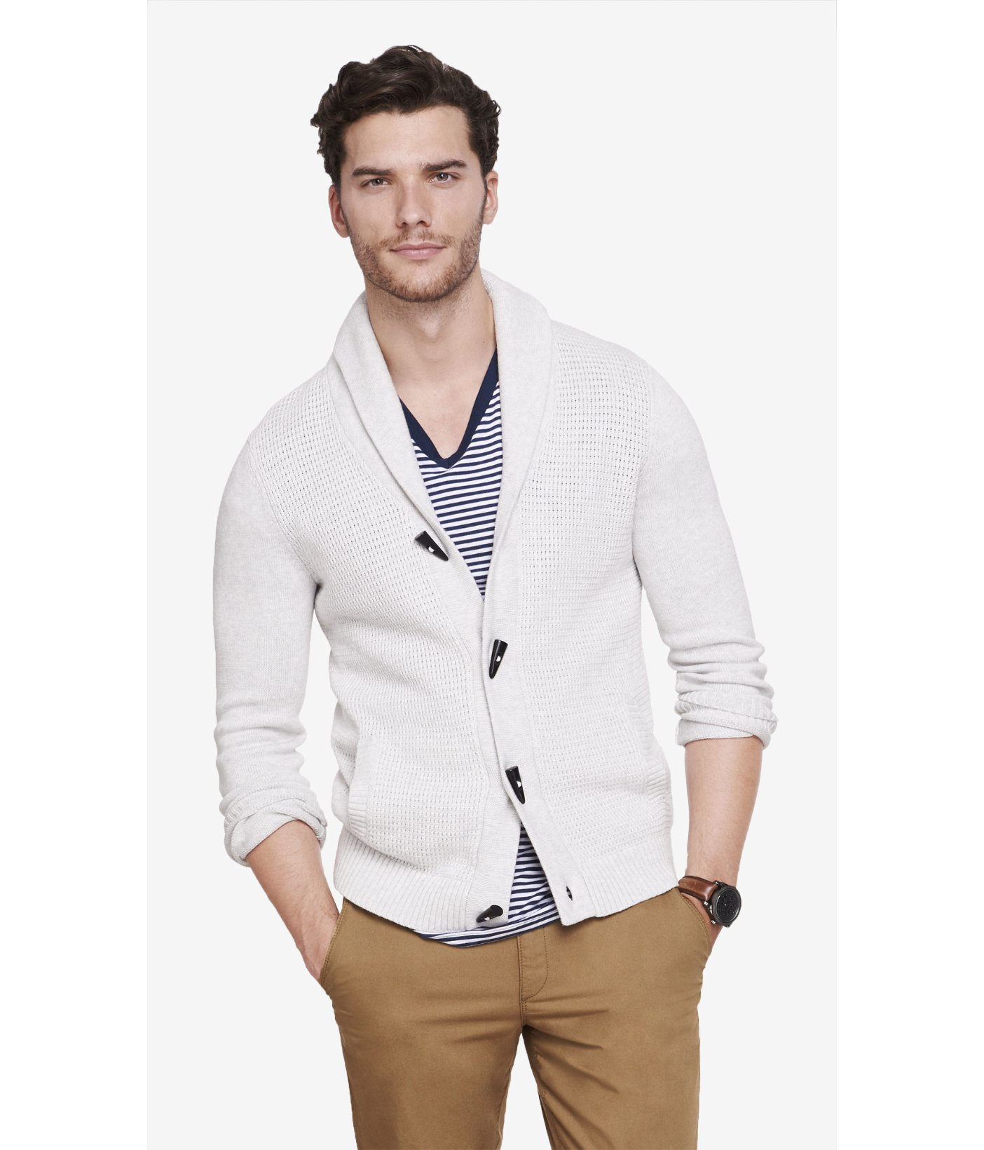 Express Mixed Stitch Shawl Collar Toggle Cardigan in White for Men ...