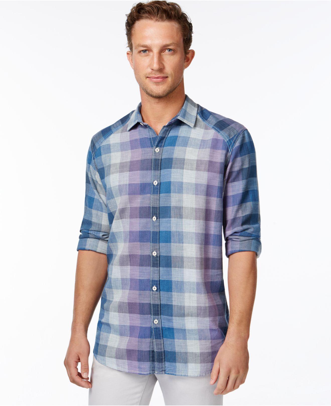 Lyst tommy bahama gingham coast long sleeve shirt in for Tommy bahama long sleeve dress shirts