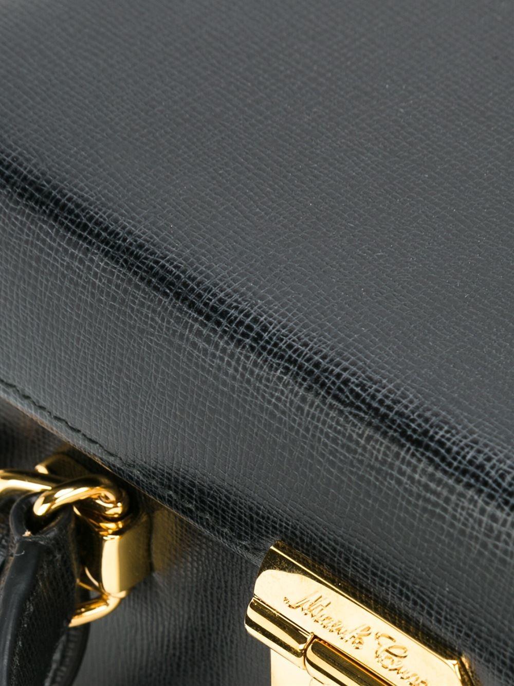 Mark Cross Leather Large Grace Box in Black