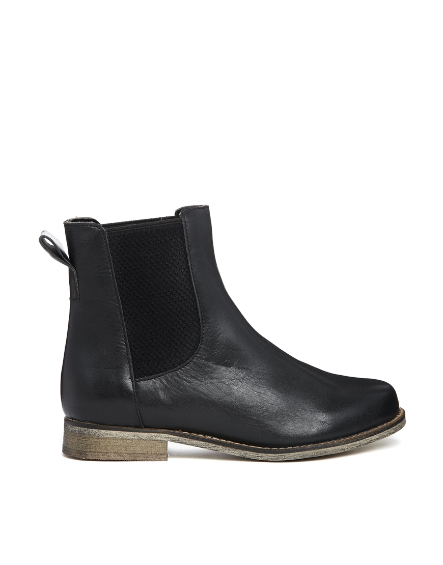 asos au revoir leather chelsea ankle boots in black lyst. Black Bedroom Furniture Sets. Home Design Ideas