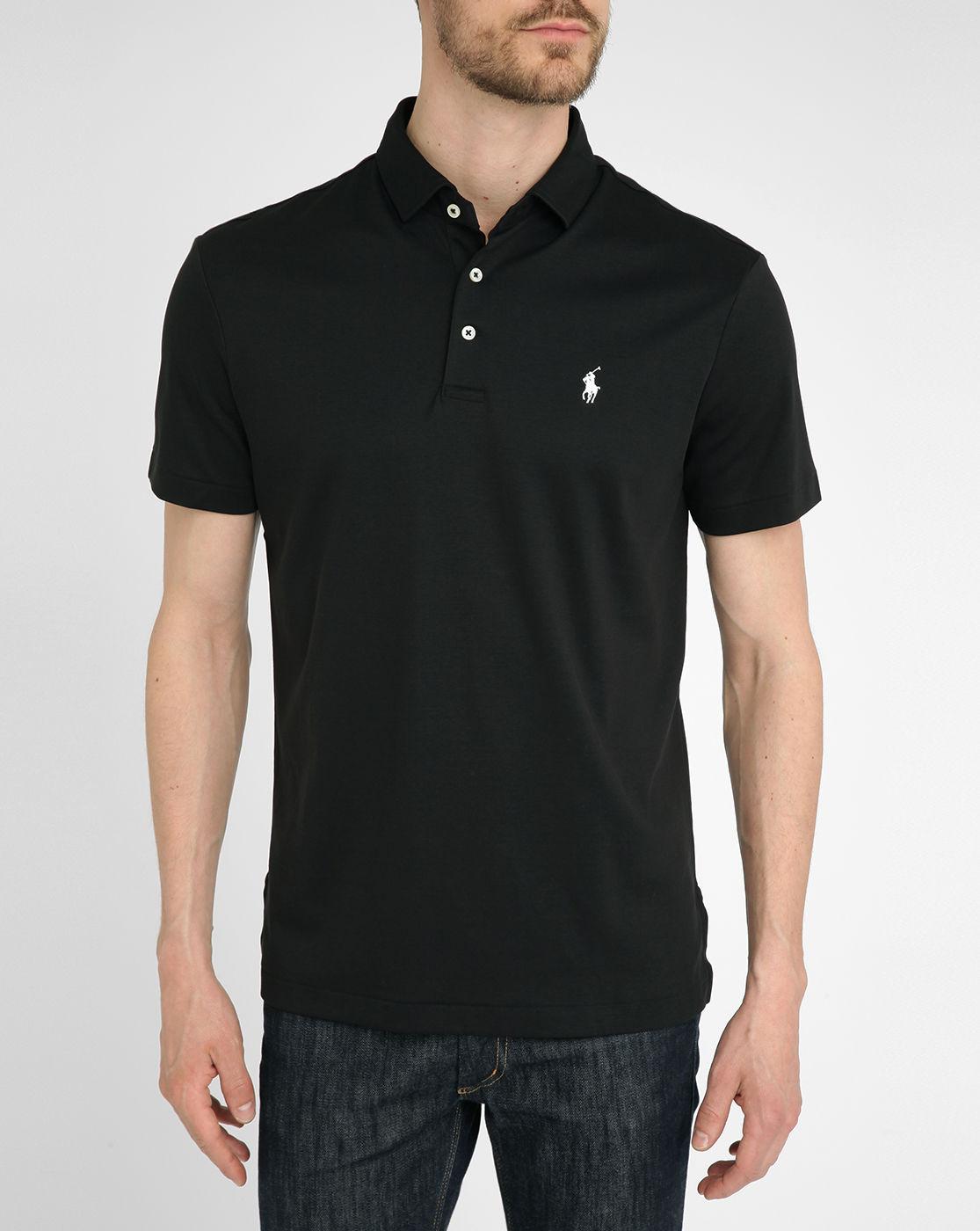 Polo ralph lauren black jersey polo shirt in black for men for Ralph lauren polo jersey shirt