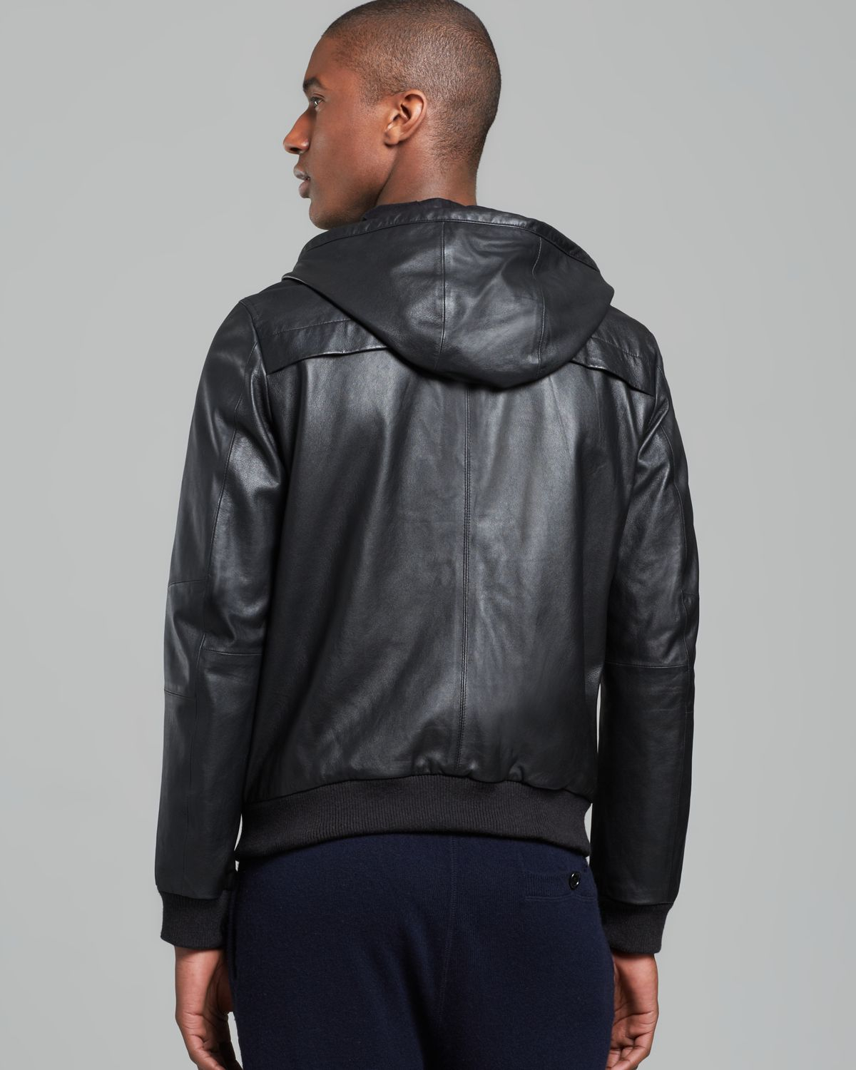Vince Hooded Leather Jacket In Blue For Men Lyst