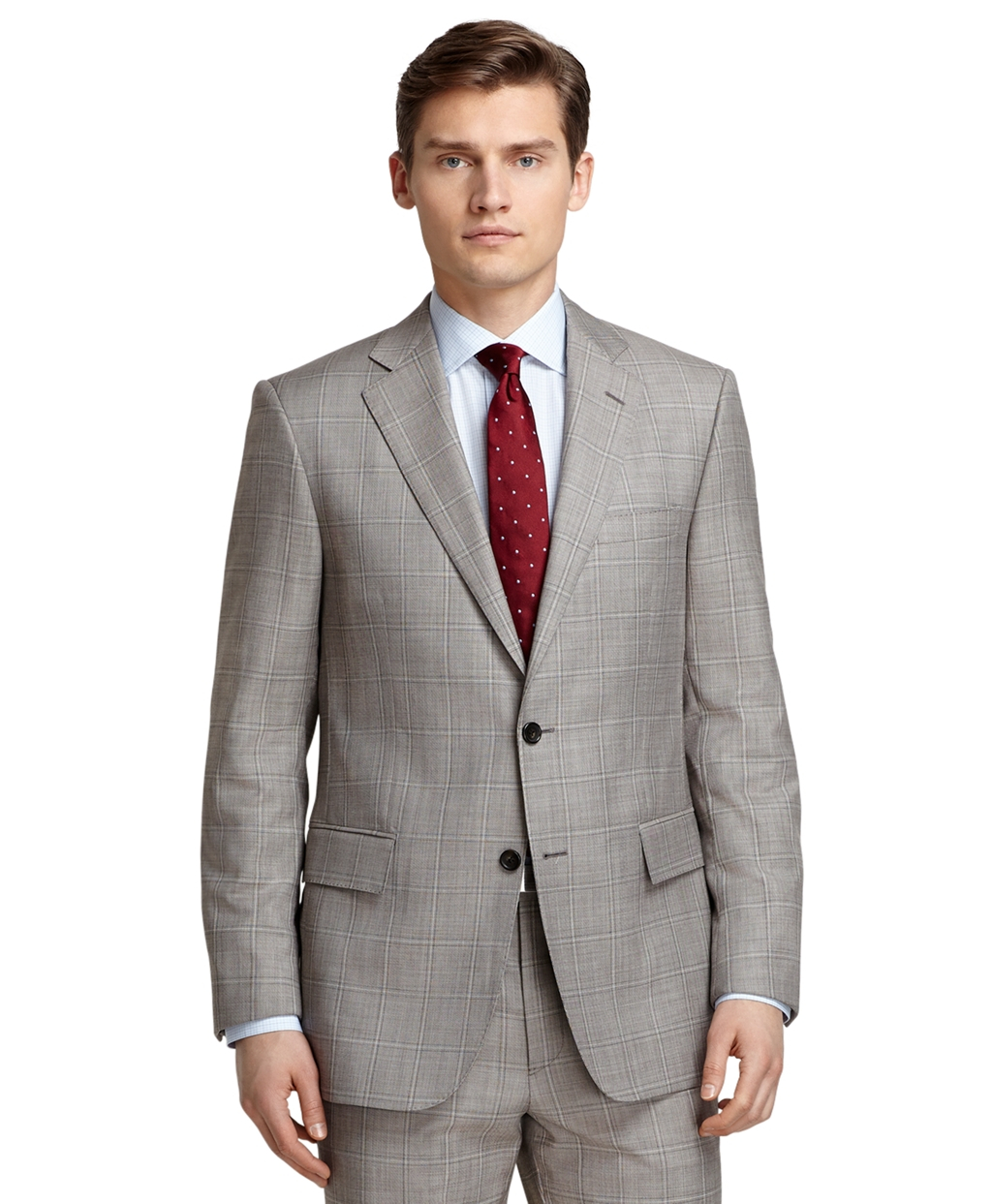 Brooks brothers Regent Fit Tan Sharkskin With Windowpane ...