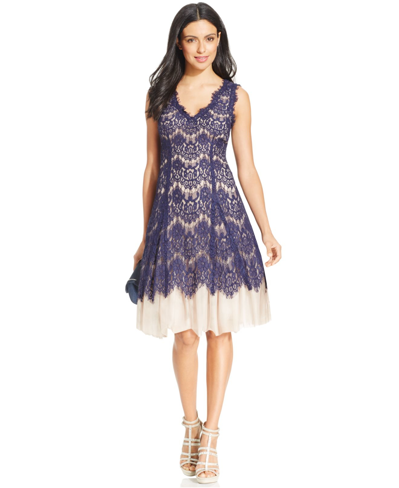 Dresses with lace overlay