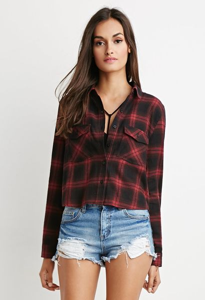Forever 21 boxy plaid flannel shirt in red black red for Flannel shirts for womens forever 21