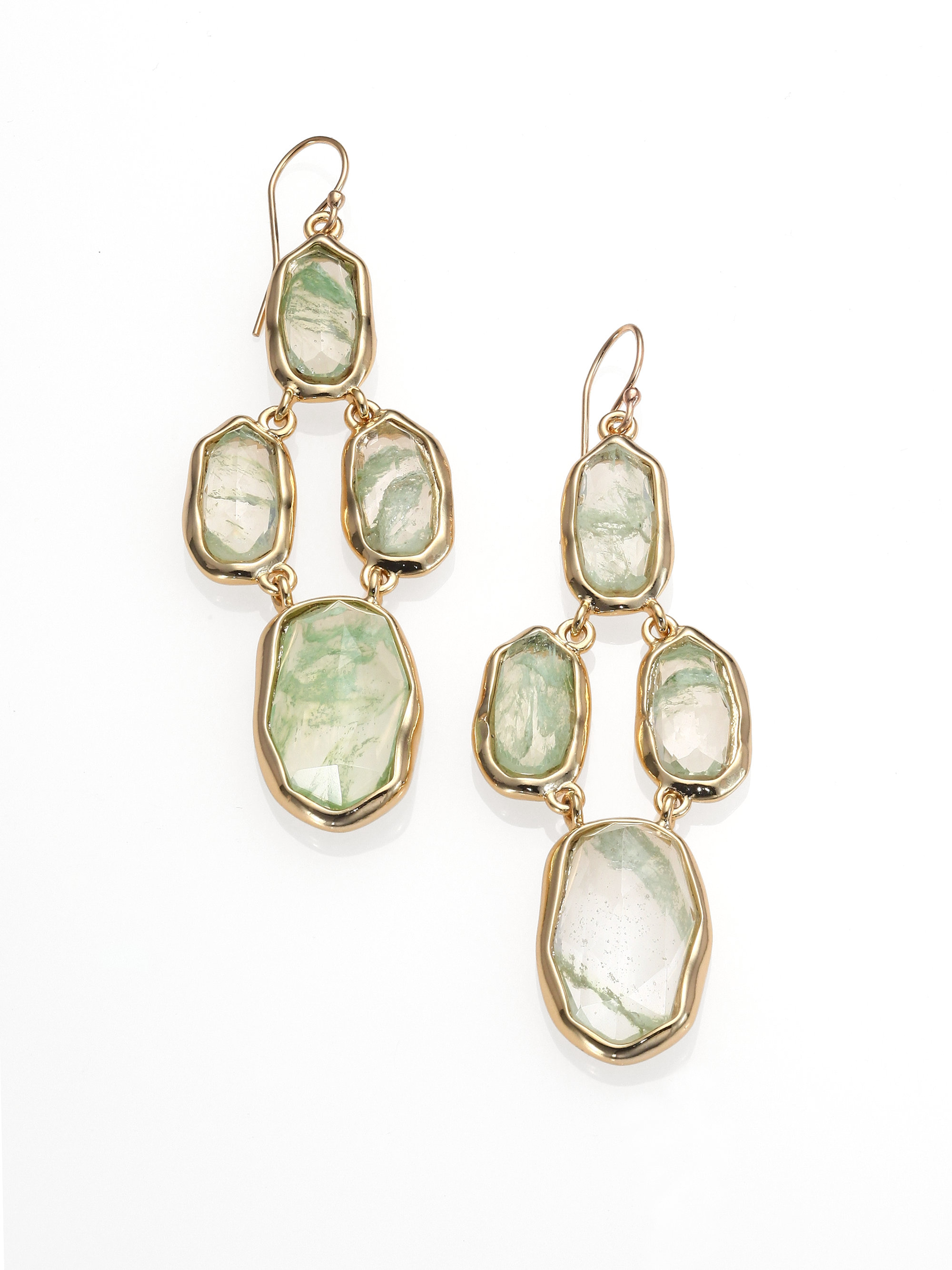 Alexis bittar Miss Havisham Liquid Crackle Glass Chandelier – Aqua Chandelier Earrings