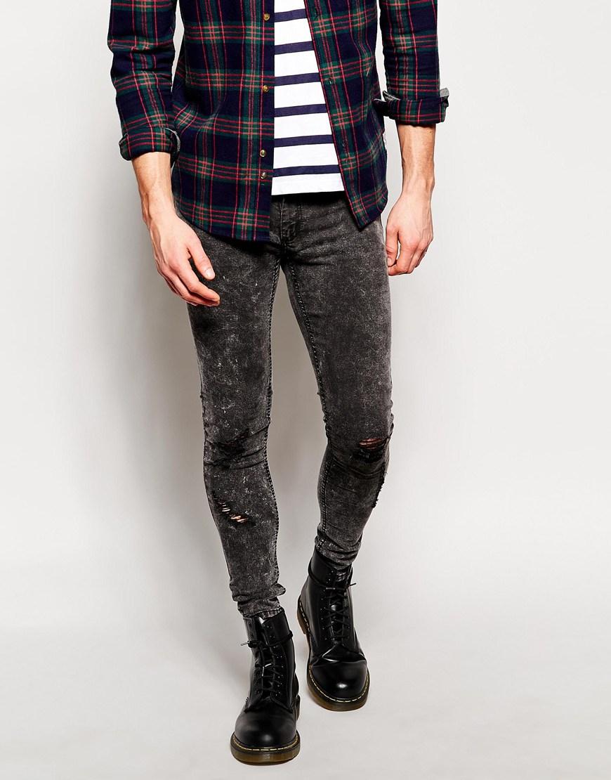 Cheap monday Jeans Low Spray Super Skinny Scratch Grey Distressed ...
