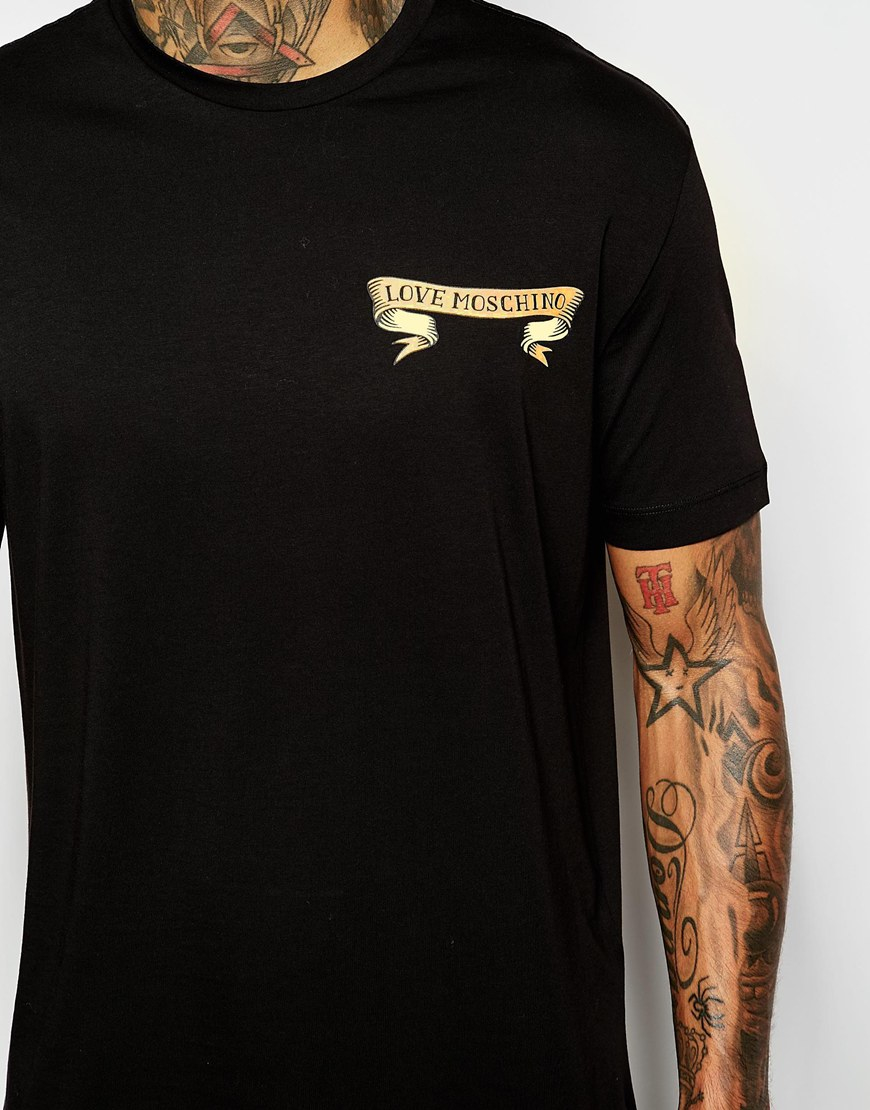 lyst love moschino t shirt with ribbon tattoo back print. Black Bedroom Furniture Sets. Home Design Ideas