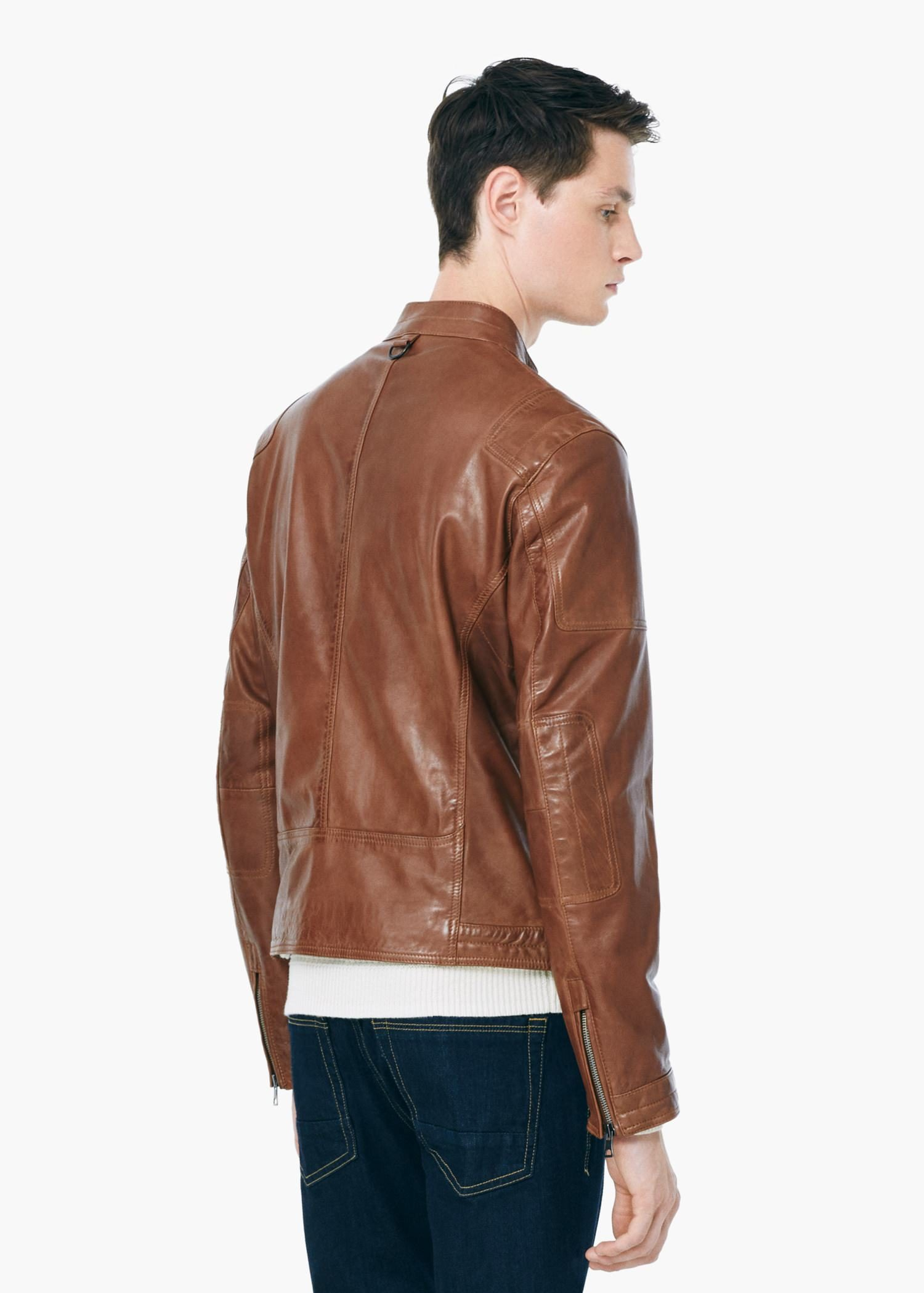 Lyst Mango Leather Biker Jacket In Brown For Men