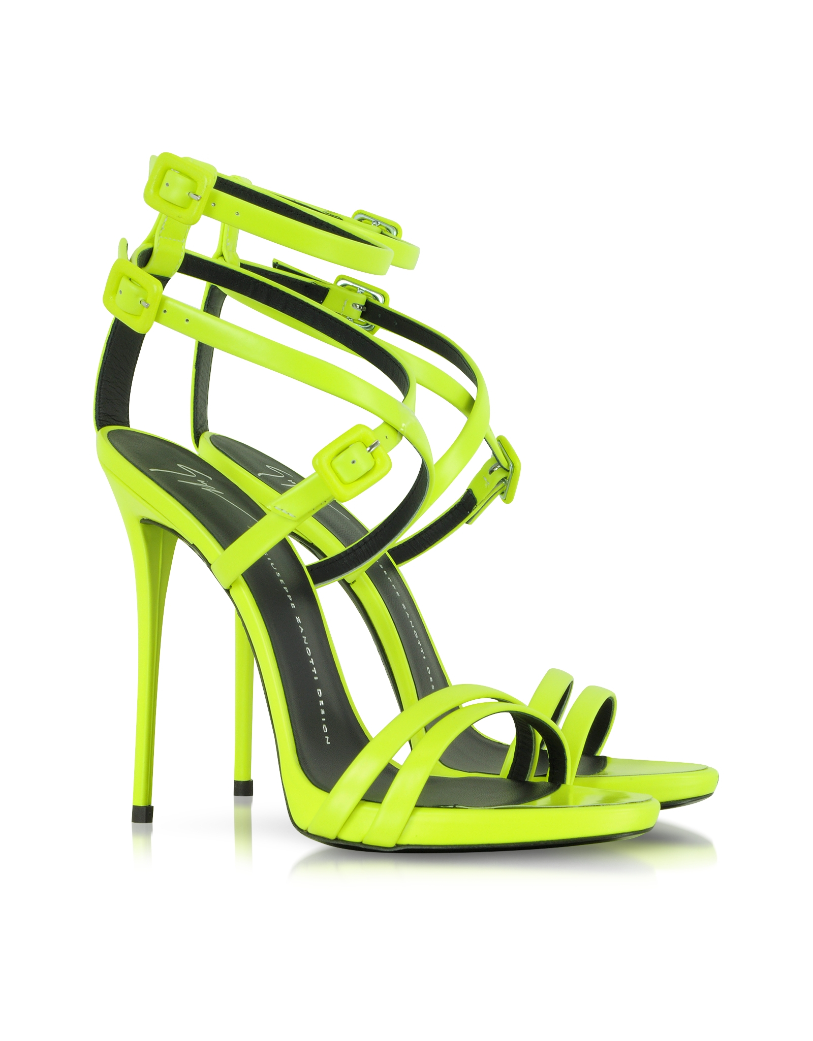 Lyst - Giuseppe Zanotti Neon Yellow Leather Ankle Strap ...